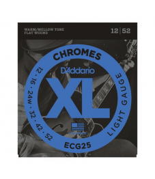Daddario Sähkökitaran kielisarja, Chromes Flat Wound, 012-052