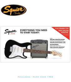 *** Squier by Fender®, Strat® SS Pack, Black, SQ 10G vahvistin 3/4 koko
