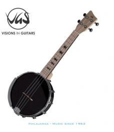 VGS Manoa Ukulele Banjo, Black open
